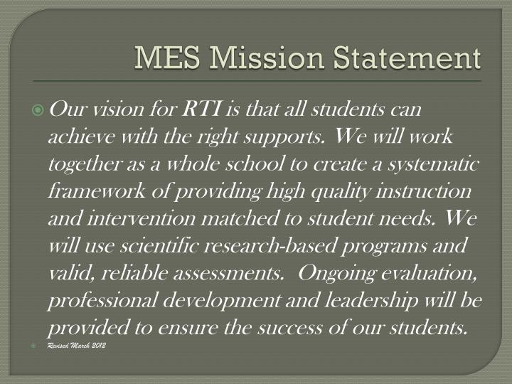 Mes mission statement