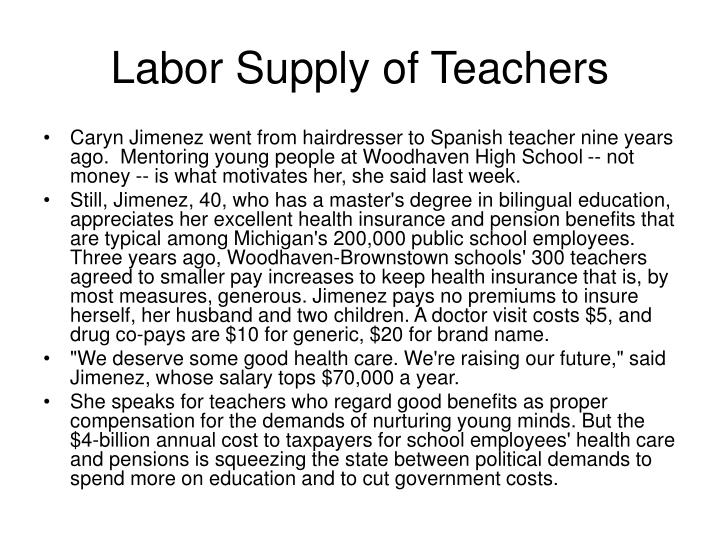 Labor Supply of Teachers