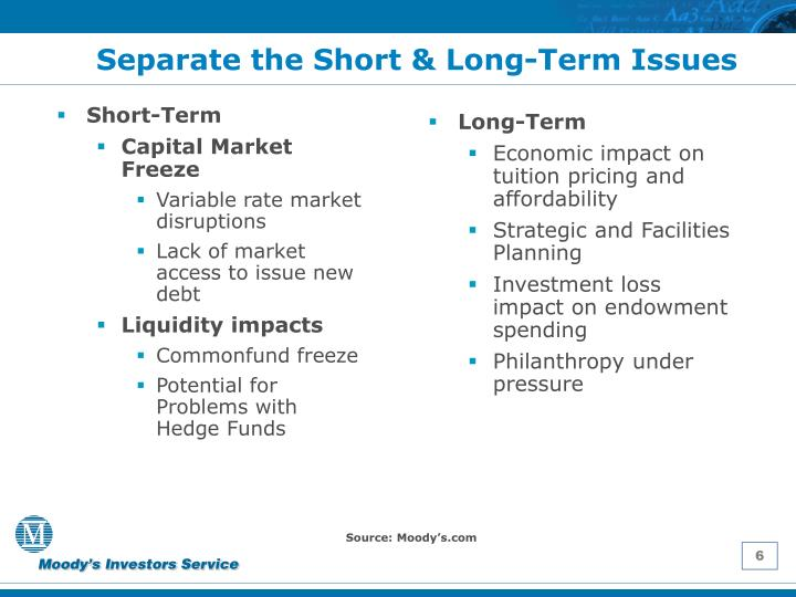 Separate the Short & Long-Term Issues