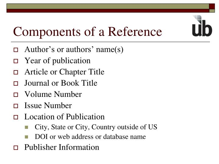 Components of a Reference