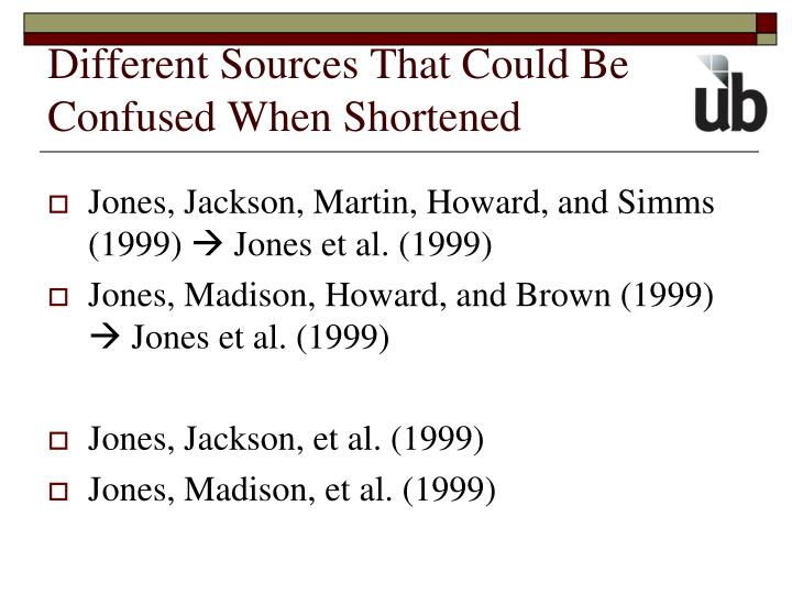 Different Sources That Could Be Confused When Shortened