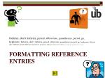 formatting reference entries