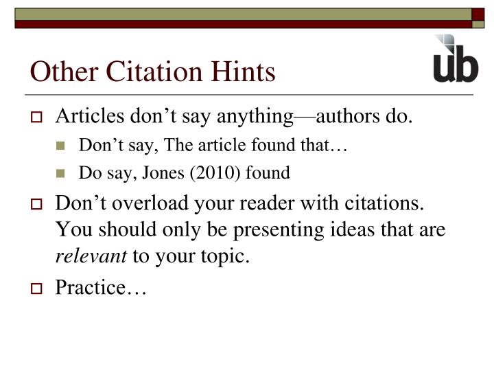 Other Citation Hints