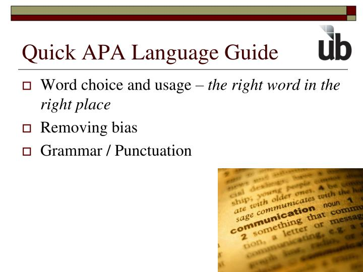 Quick APA Language Guide