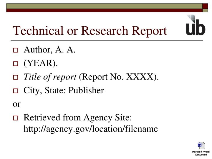 Technical or Research Report