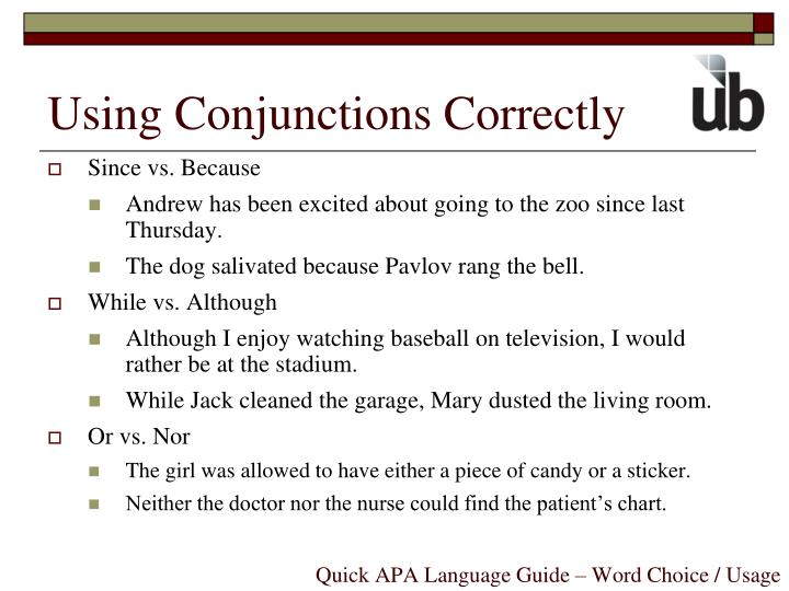 Using Conjunctions Correctly