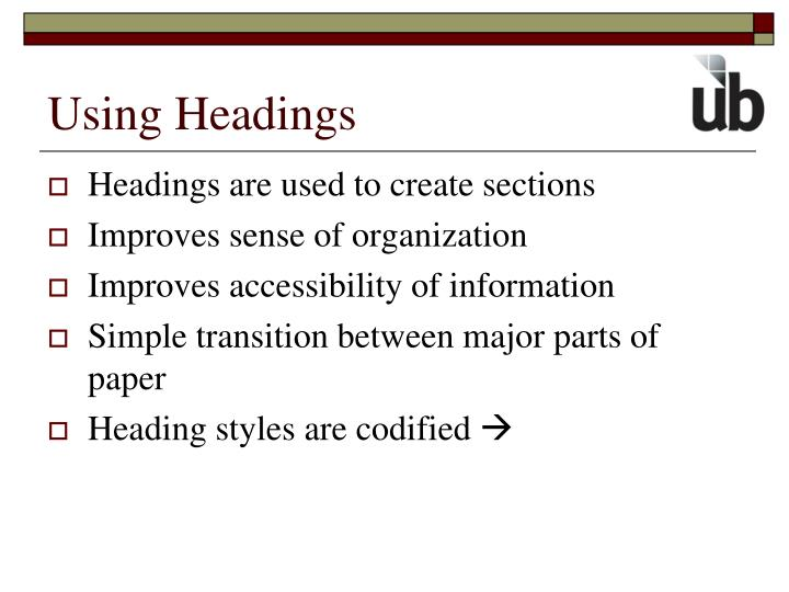 Using Headings