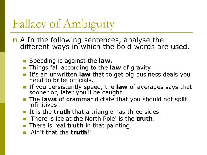 Fallacy of Ambiguity