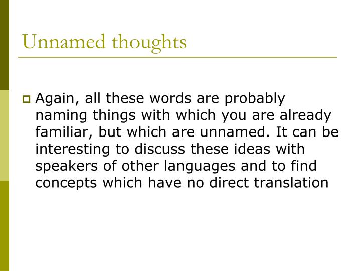 Unnamed thoughts