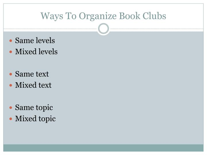 Ways To Organize Book Clubs