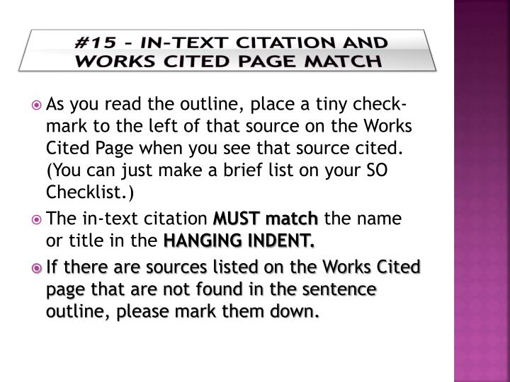 #15 - in-Text Citation and Works Cited Page Match
