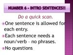 number 6 intro sentences