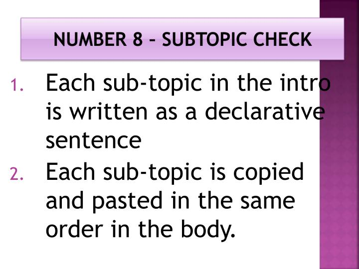 Number 8 – Subtopic check