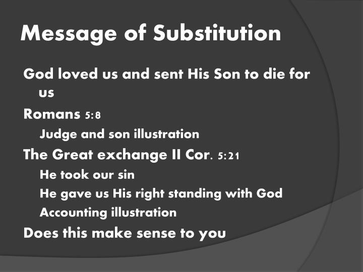 Message of Substitution
