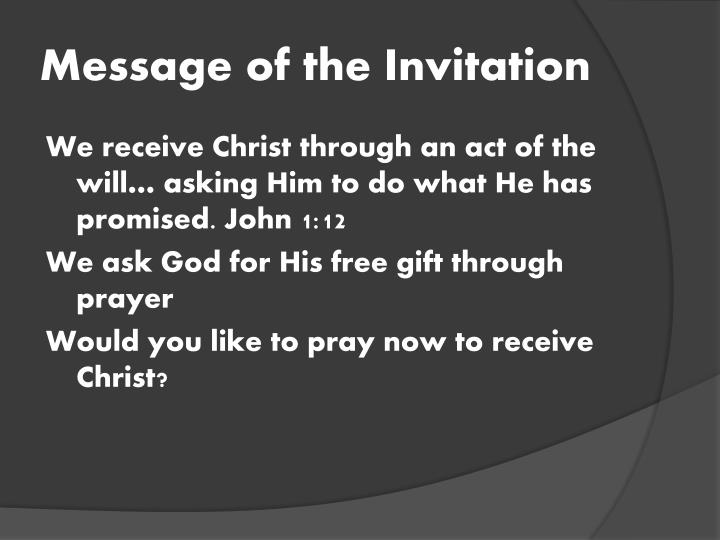 Message of the Invitation