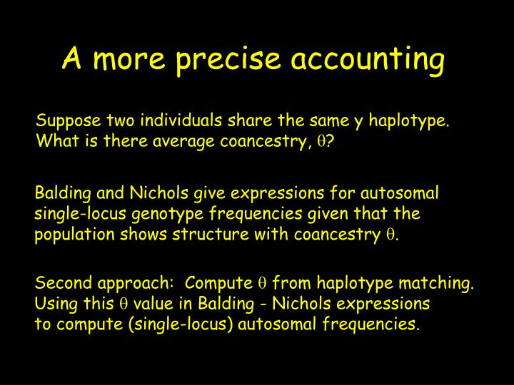 A more precise accounting