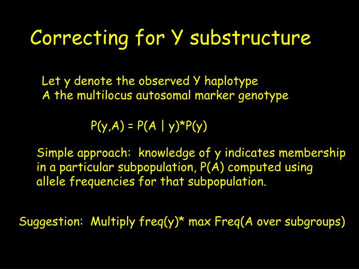 Correcting for Y substructure