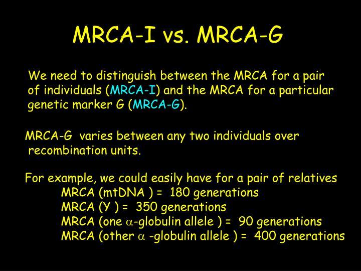 MRCA-I vs. MRCA-G
