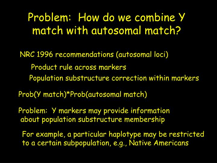 Problem:  How do we combine Y match with autosomal match?