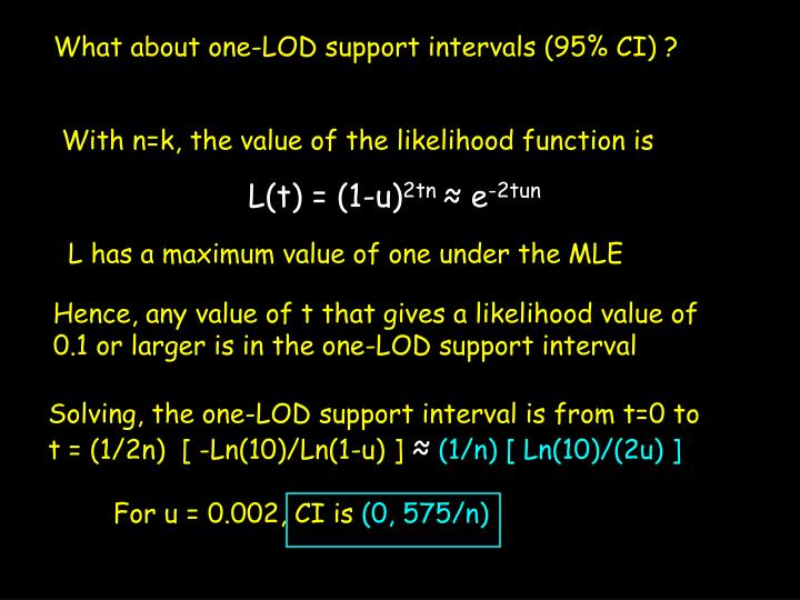 What about one-LOD support intervals (95% CI) ?