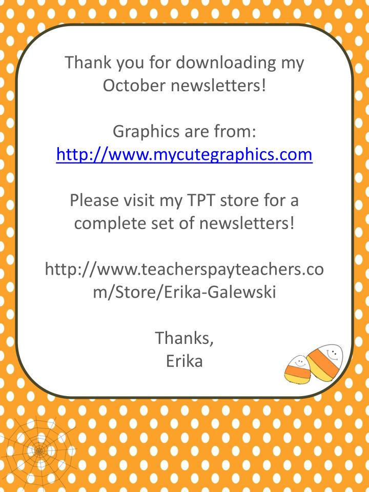 Thank you for downloading my October newsletters!