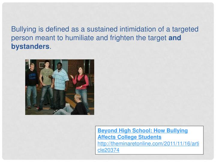 Beyond High School: How Bullying Affects College Students