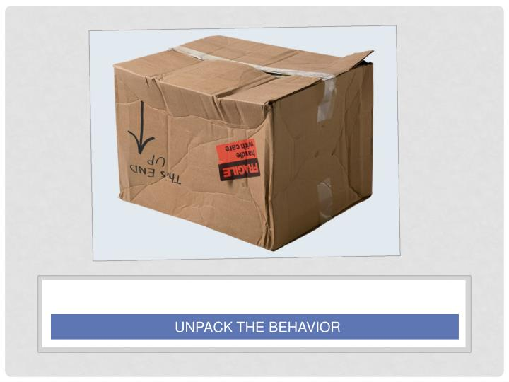 UNPACK THE BEHAVIOR