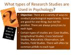 what types of research studies are used in psychology