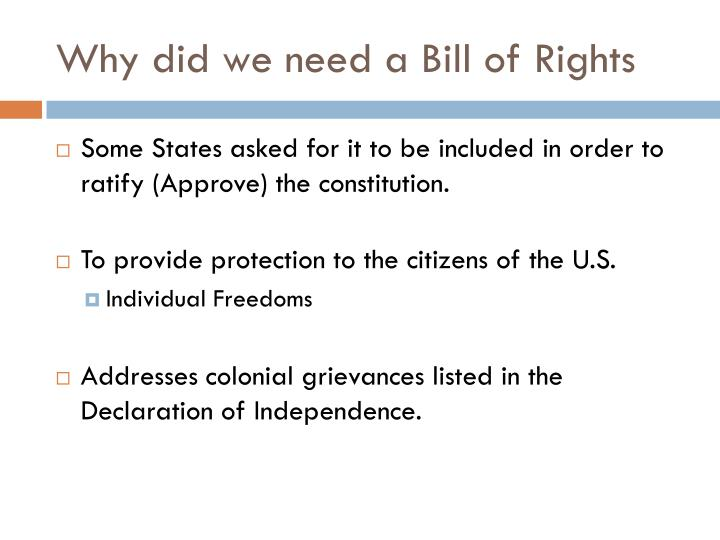 Why did we need a Bill of Rights