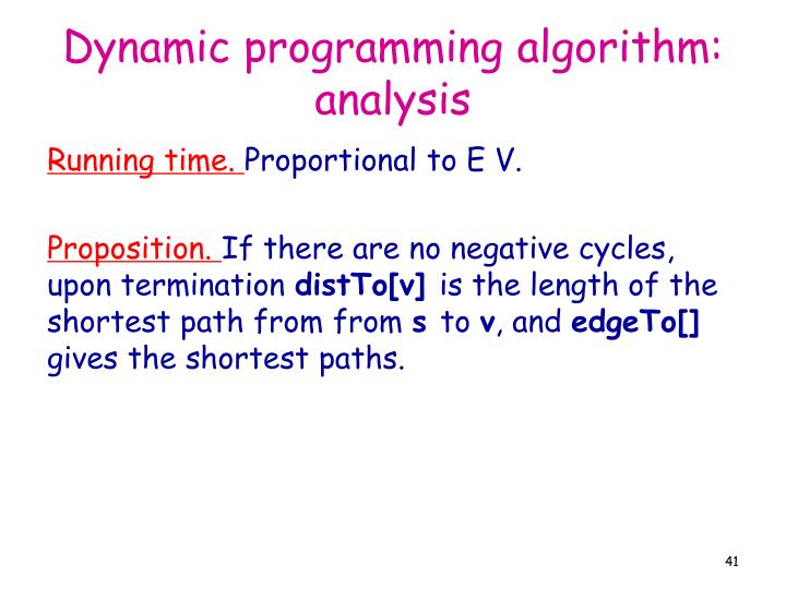 Dynamic programming algorithm: analysis