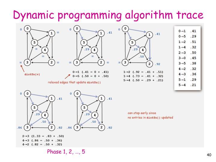 Dynamic programming algorithm trace