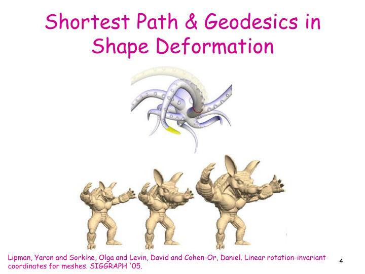 Shortest Path & Geodesics in Shape Deformation
