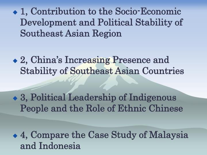 1, Contribution to the Socio-Economic Development and Political Stability of Southeast Asian Region