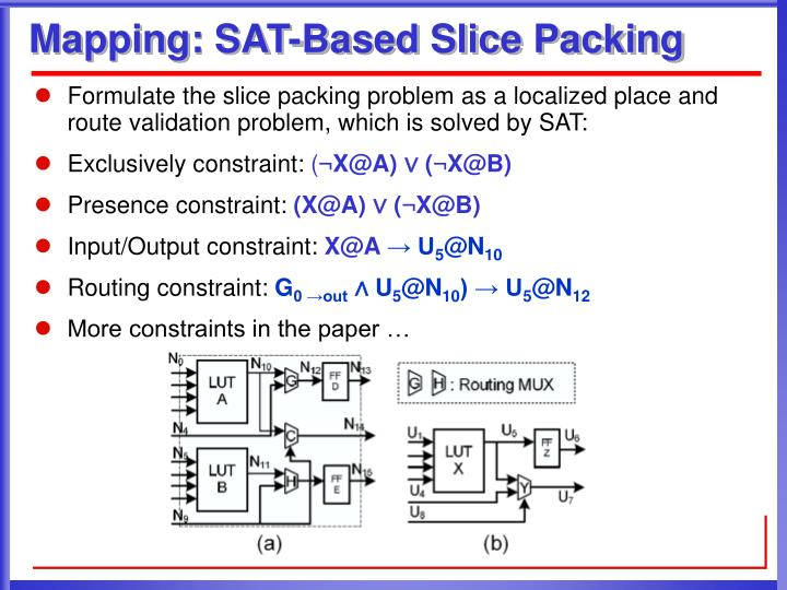 Mapping: SAT-Based Slice Packing