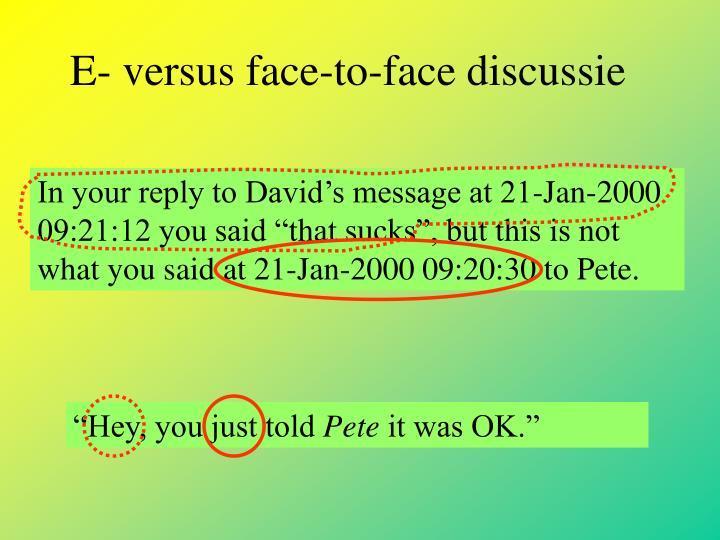 E- versus face-to-face discussie