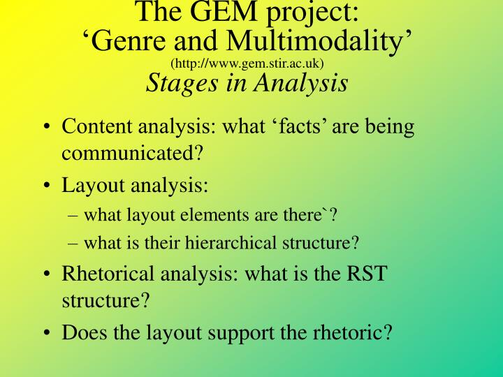 The GEM project: