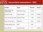 key portfolio transactions 2007