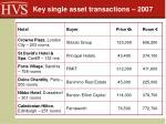 key single asset transactions 2007