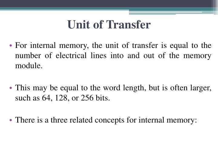 Unit of Transfer