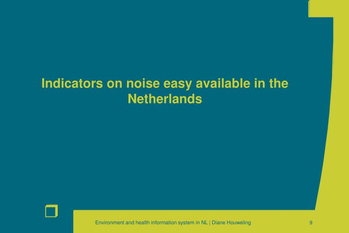 Indicators on noise easy available in the Netherlands