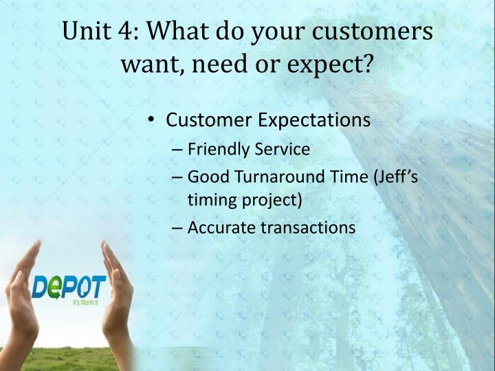 Unit 4: What do your customers want, need or expect?