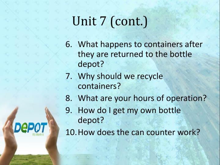 Unit 7 (cont.)