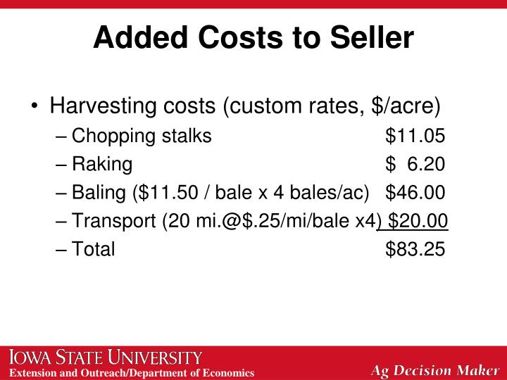 Added Costs to Seller