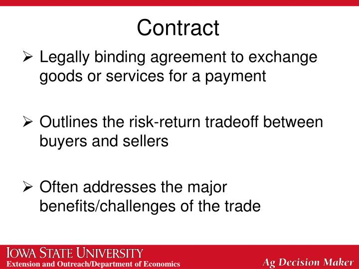 Legally binding agreement to exchange goods or services for a payment