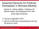 essential elements for producer participation in biomass markets