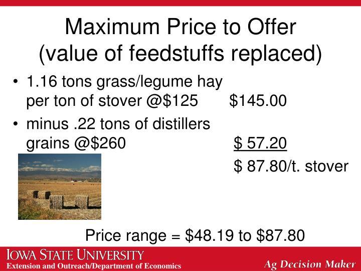 Maximum Price to Offer
