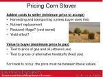 pricing corn stover