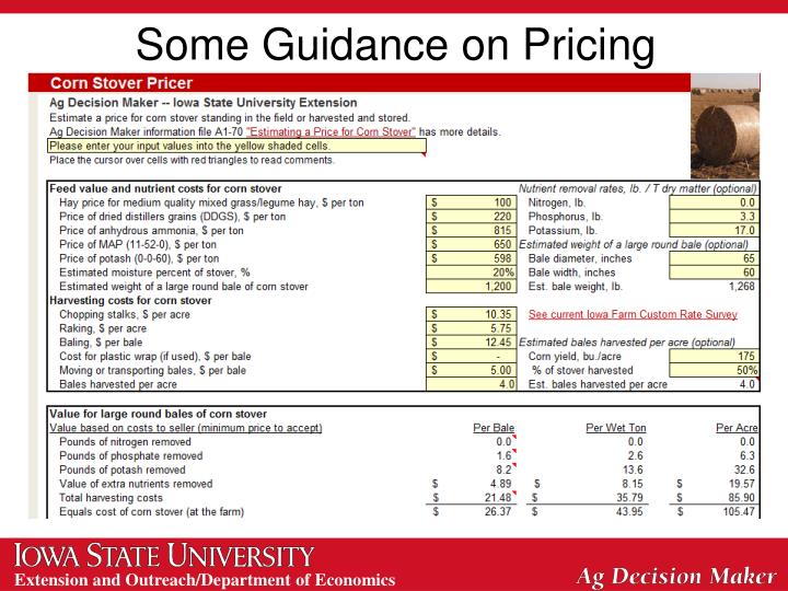 Some Guidance on Pricing