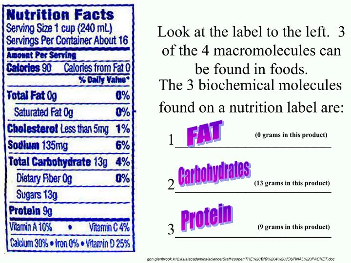 Look at the label to the left.  3 of the 4 macromolecules can be found in foods.