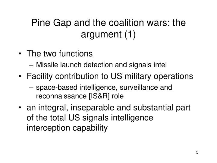 Pine Gap and the coalition wars: the argument (1)